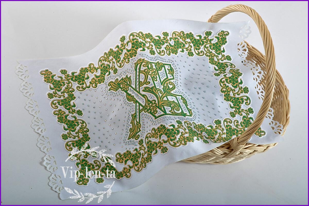 """Пасхальная салфетка-зеленым рельефным изображением со стразами """"ХВ"""""""