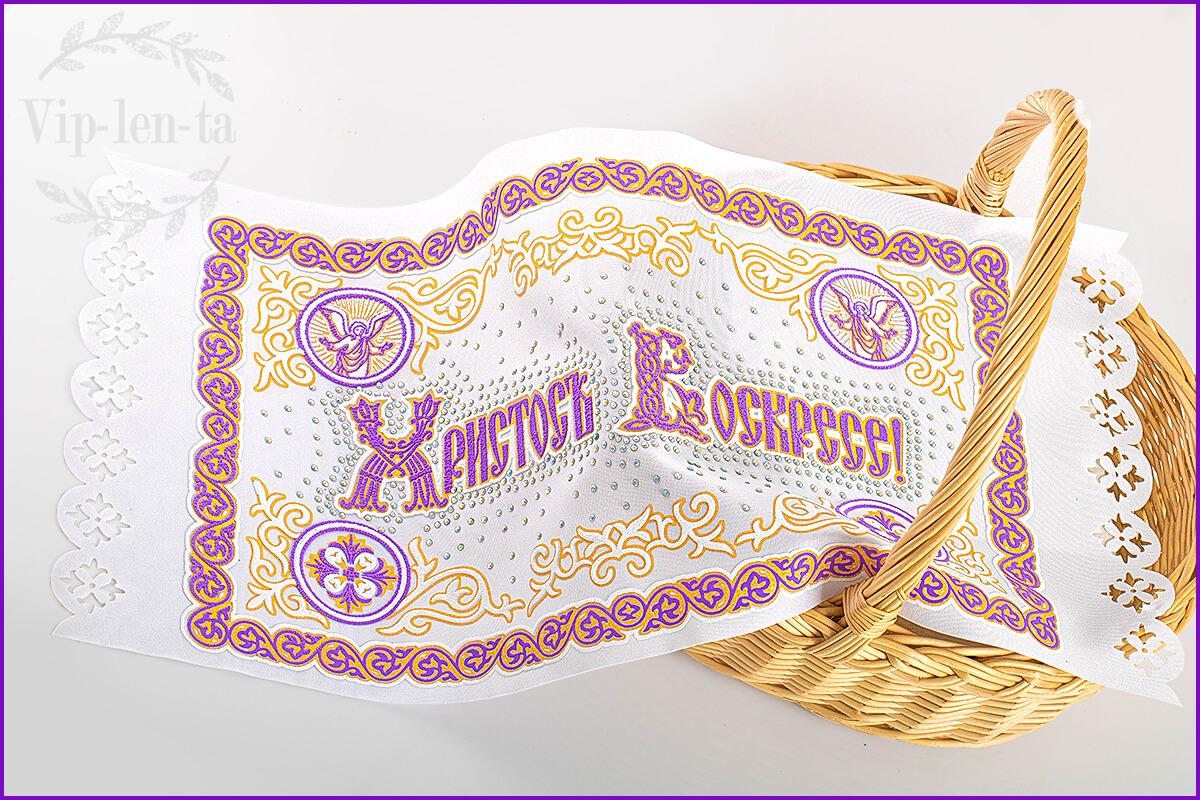 Пасхальная салфетка-фиолетовым рельефным изображением со стразами ангелы