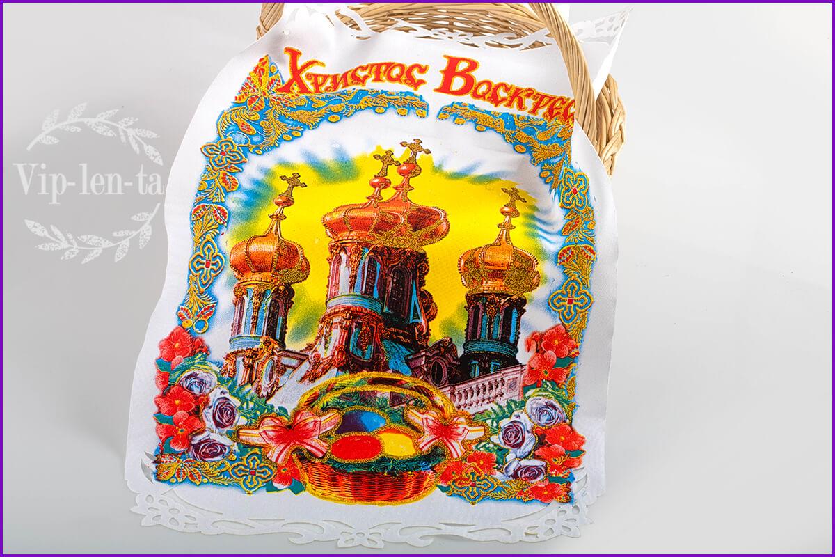 Пасхальная салфетка-с церковью краской и глитером
