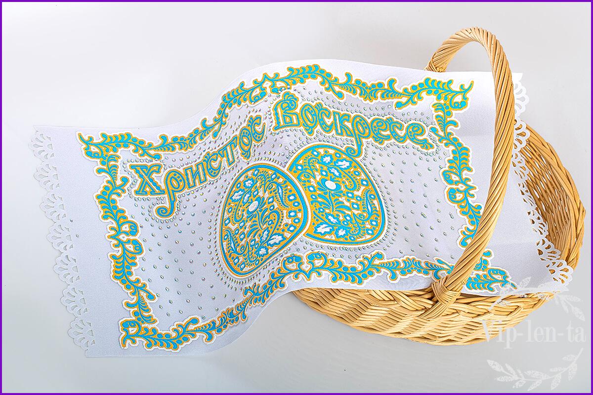 Пасхальная салфетка-бирюзовым рельефным изображением со стразами