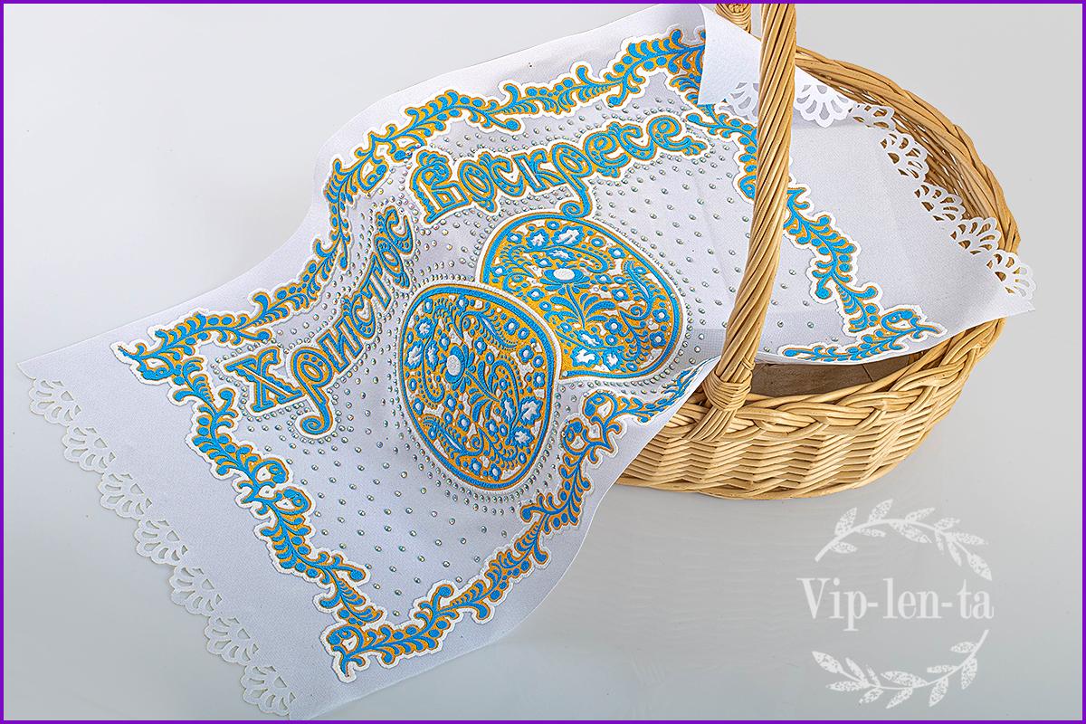Пасхальная салфетка-голубым рельефным изображением со стразами