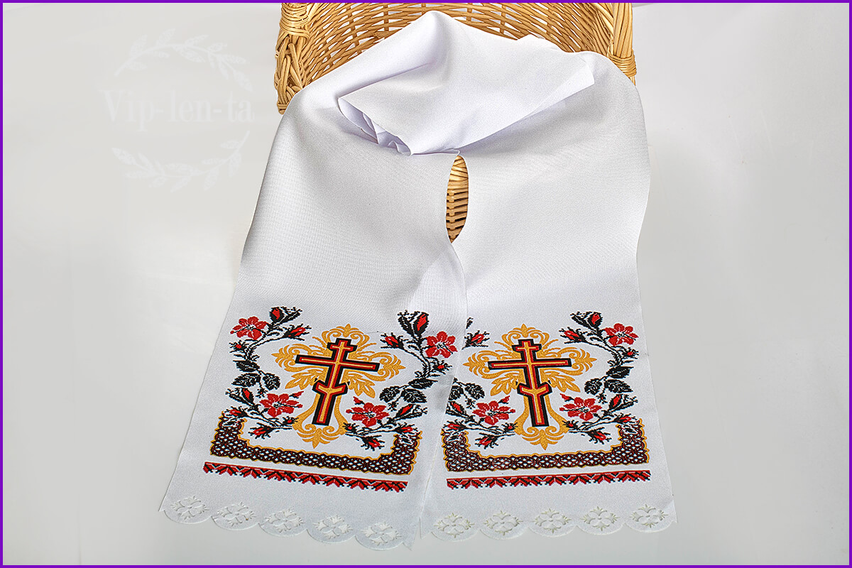 Рушник поминальный с крестом красным нанесением