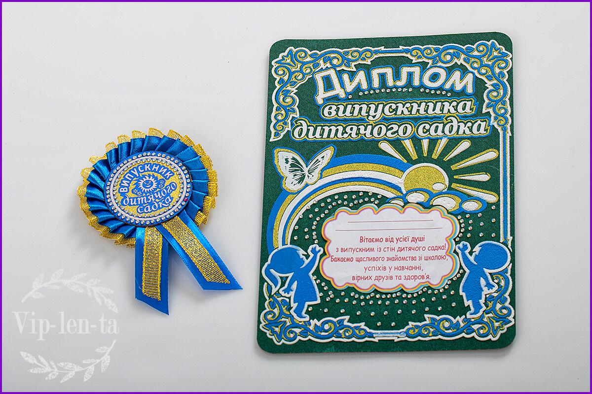 Синие значки для детского сада с дипломом